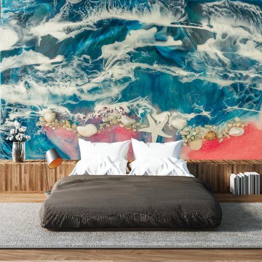 Fototapeta reprodukcja malarstwa do salonu z morzem i kamieniami niebiesko turkusowa