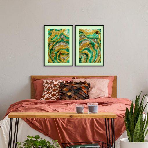 Plakat dyptyk - Zielona abstrakcja