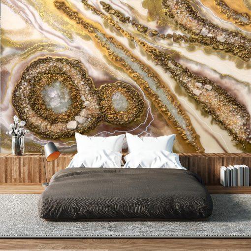 Fototapeta - Złota abstrakcja do sypialni