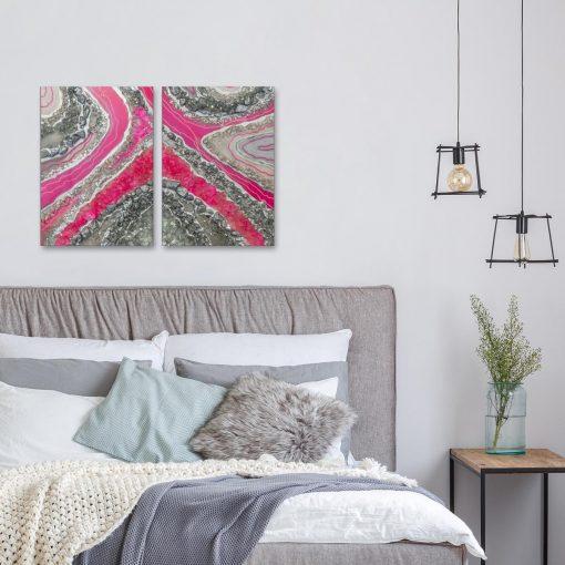 Obraz podwójny z abstrakcją do sypialni