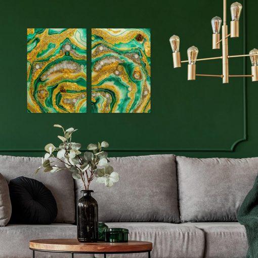 Inspiracja do salonu obraz dyptyk malarstwo żywiczne abstrakcja ze złotem