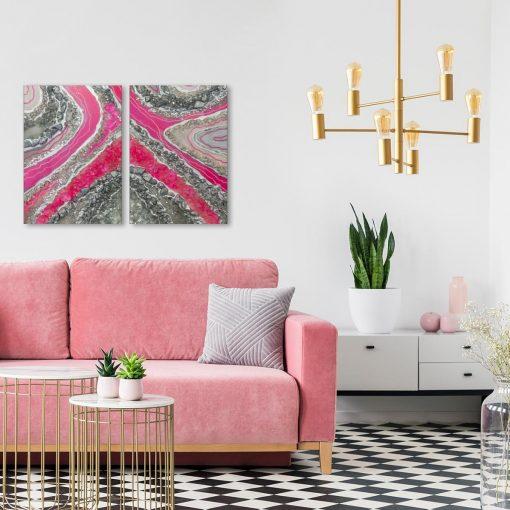 Obraz podwójny z różową abstrakcją do salonu