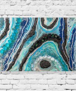 Obraz z abstrakcją w niebieskich barwach