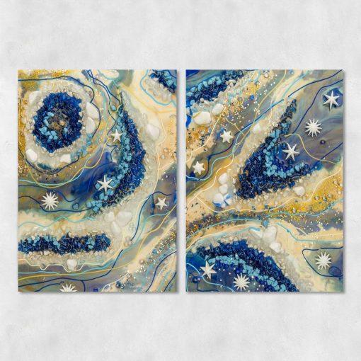 Podwójny obraz przedstawiający kremową abstrakcję