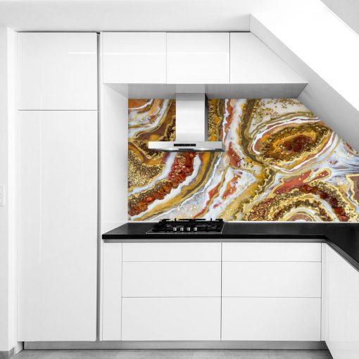 Fototapeta - Geode art ze złotymi kamieniami