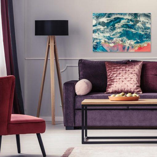 obraz do salonu z żywicy morski motyw różowo niebieski