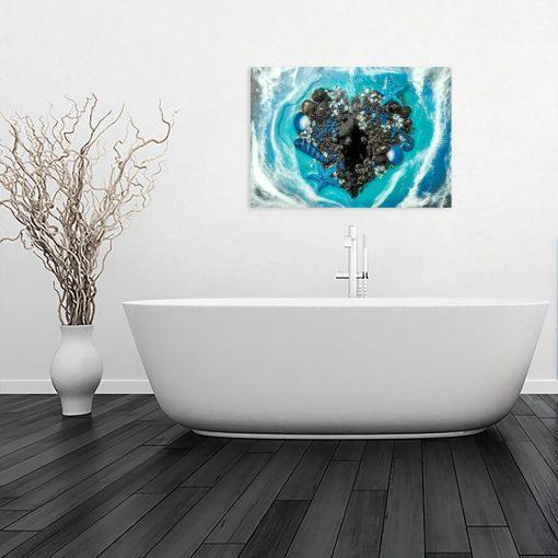 Obraz - Serce z kamieni do łazienki