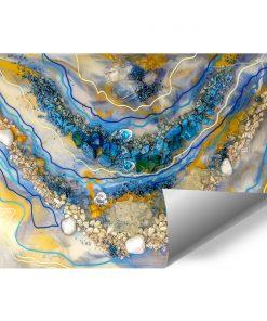 Fototapeta dekoracja z kamieniami i abstrakcją pomarańczowo niebieska