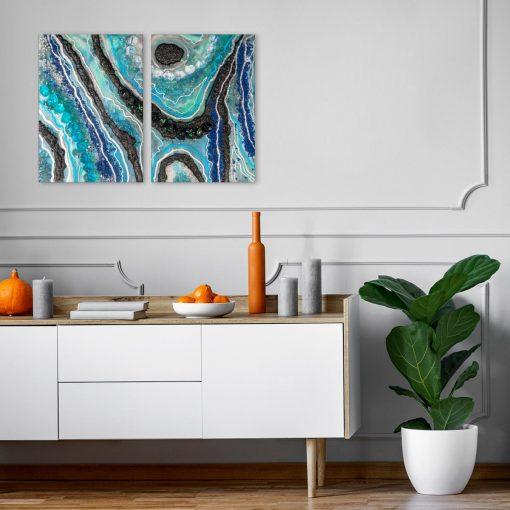 Obraz dyptyk z motywem niebiesko-czarnej abstrakcji