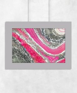 Plakat obrazujący różową abstrakcję