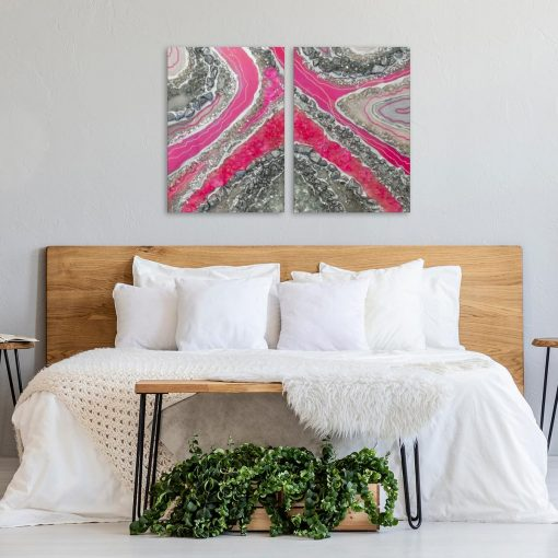 Obraz dyptyk z różową abstrakcją do sypialni