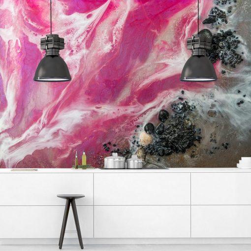 Fototapeta do kuchni z różowym morzem