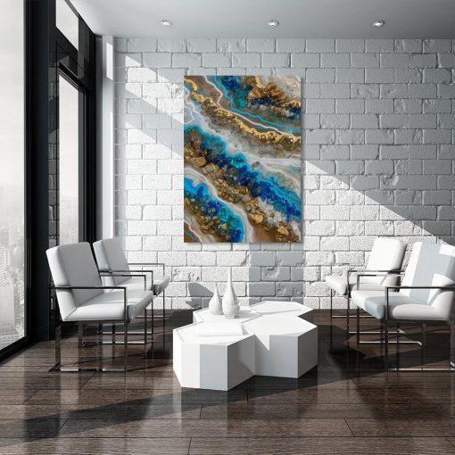 Obraz przedstawiający niebieską sztukę żywicy