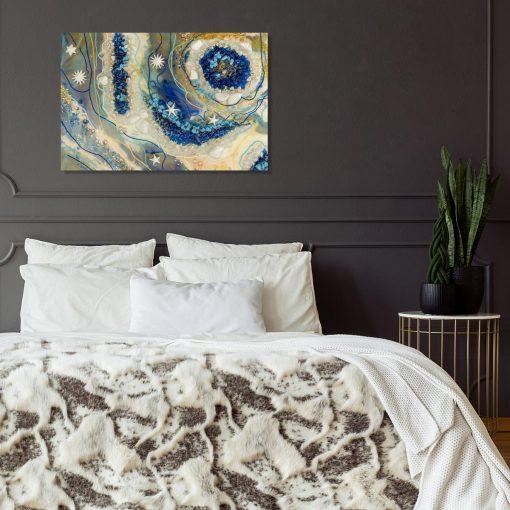 Obraz z motywem niebiesko-kremowej abstrakcji