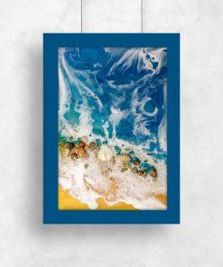 Plakat resin art z muszelkami
