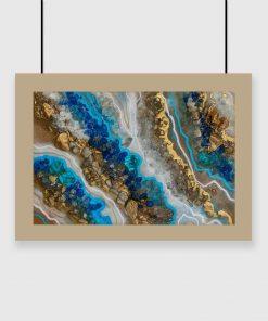Plakat przedstawiający niebieską sztukę żywicy