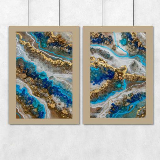 Plakat podwójny przedstawiający niebieskie kamienie