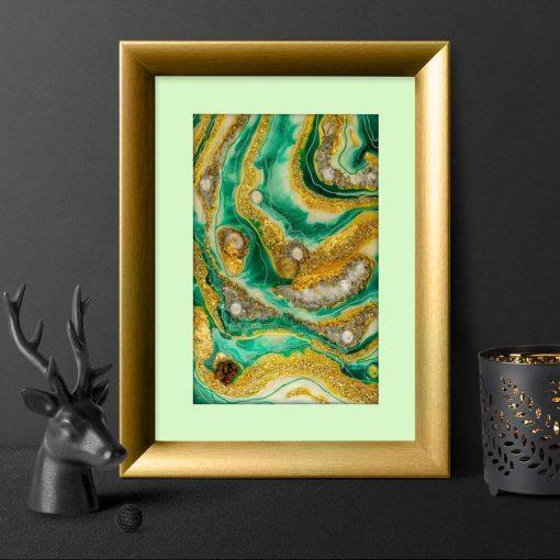 Plakat geode art - Abstrakcja w zieleni do sypialni