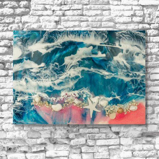 obraz z motywem morza i plaży w niebiesko różowych barwach
