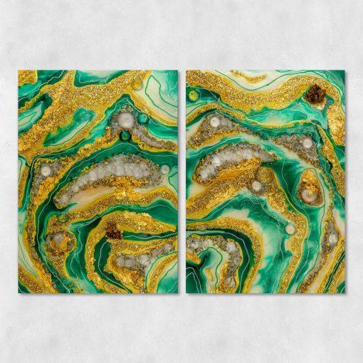 Obraz wzór abstrakcyjny z mazajami i kamieniami w zielonych barwach
