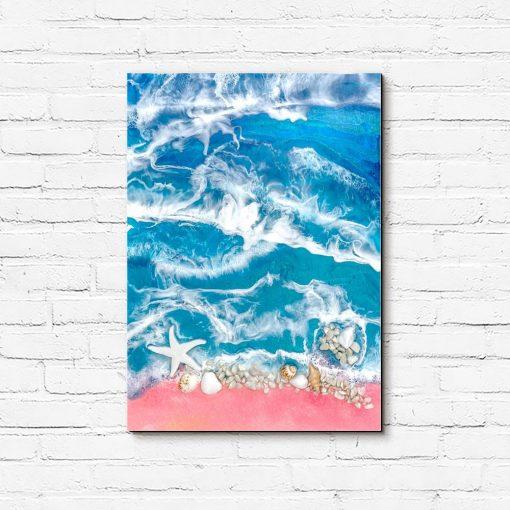 obraz morski wzór różowo niebieski z kamieniami