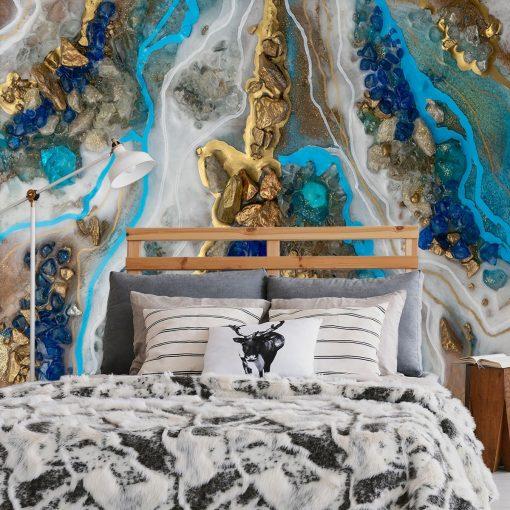 Fototapeta geode art z motywem niebieskich kamieni