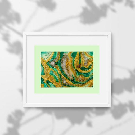 Plakat z piękna zieloną abstrakcją