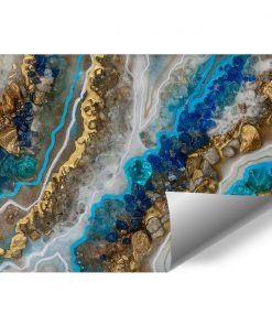 Foto-tapeta przedstawiająca złoto-niebieskie kryształki