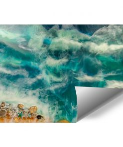 fototapeta morze fale muszle kamiennie piasek