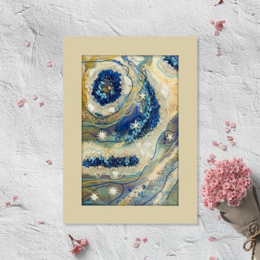 Plakat geode art - Niebieskie kamienie