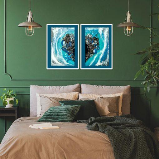 Plakat podwójny z motywem serca i morza