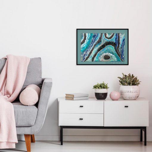 Plakat geode art - Niebiesko-czarna abstrakcja