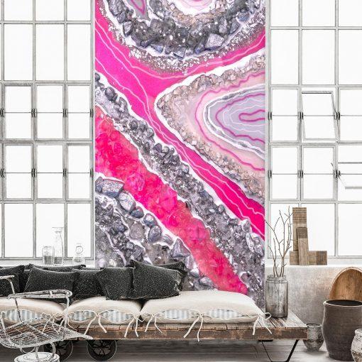 Foto-tapeta z różowymi kryształkami