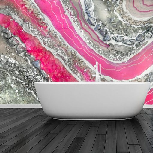 Foto-tapeta z abstrakcją w kolorze srebrnym do łazienki