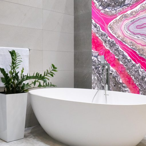 Fototapeta z różowymi kryształkami do łazienki