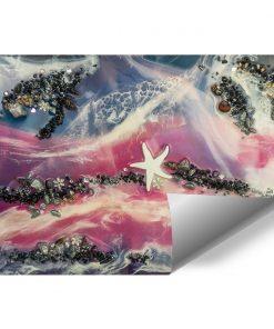fototapeta niebieski różowy czarny i biały morze abstrakcja